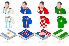 Satz der Weltcup-Gruppen-D Jersey Stockfotos