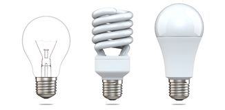 Satz der Wiedergabe 3d der Wolframbirne, der Leuchtstoffbirne und DER LED-Birne 3d Illustration, Entwicklung von Energiesparerlam Stockbild