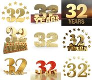 Satz der Zahl zweiunddreißig 32-jähriges Feierdesign des Jahres Zahl-Schablonenelemente des Jahrestages goldene für Ihre Geburtst vektor abbildung