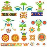 Satz der Zusammenfassung färbte traditionelles ägyptisches und afrikanisches Muster Stockbilder