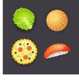 Satz des Abendessens, Pizza, Burger, Sushi und Salat treiben Blätter Stockfotografie