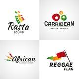 Satz des afrikanischen rastafari Ton-Vektorlogos entwirft Stockbilder