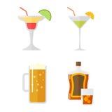 Satz des Alkoholgetränkvektors stock abbildung