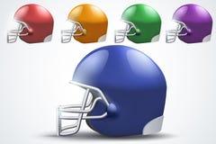 Satz des amerikanischen Football-Helms Weicher Fokus Stockfoto