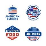 Satz des amerikanischen Küchekonzeptes der Retro- Logos Vektor Abbildung