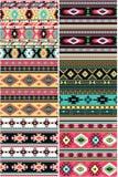 Satz des amerikanischen Ureinwohners von sechs nahtlosen Mustern des unterschiedlichen Vektors lizenzfreie abbildung