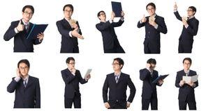 Satz des asiatischen Geschäftsmannes in den verschiedenen Haltungen lokalisiert auf Weiß Lizenzfreie Stockfotografie