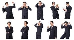 Satz des asiatischen Geschäftsmannes in den verschiedenen Haltungen lokalisiert auf Weiß Lizenzfreie Stockfotos