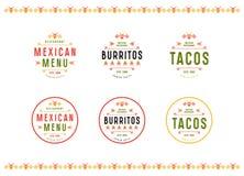 Satz des Aufklebers, des Logos und des Ausweises für mexikanisches Restaurant Stockbild