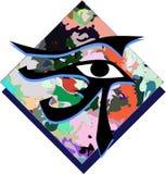 Satz des Auges von Rha auf dem bunten Hintergrund lokalisiert Stockbilder