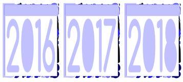 Satz des Ausweises mit Jahren 2016 2017 2018 Lizenzfreies Stockfoto