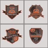 Satz des Basketball-Ausweises Logo Templates Stockfotos