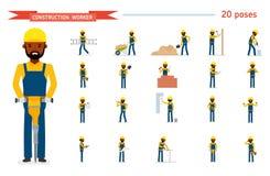 Satz des Bauarbeiters Gebrauchsfertiger Zeichensatz Lokalisiert gegen weißen Hintergrund Auch im corel abgehobenen Betrag Stockbild
