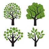 Satz des Baums mit grünen Blättern Lizenzfreies Stockfoto