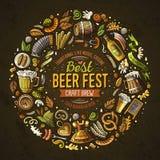 Satz des Bier Fest-Karikaturgekritzels wendet ringsum Rahmen ein lizenzfreie abbildung