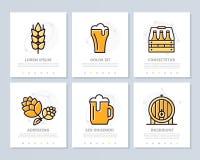 Satz des Bieres und der Bar, farbige Elemente der Kneipe für Vielzweck-Schablone der Darstellung a4 Broschüre, Geschäftsbericht Lizenzfreies Stockbild
