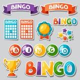 Satz des Bingo- oder Lotteriespiels mit Bällen und Karten Stockfotos