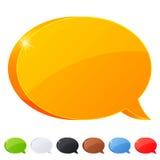 Satz des Blasensymbols mit 7 Sprachen in den verschiedenen Farben Lizenzfreies Stockbild
