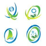Satz des blauen u. grünen Ikonen-Logos Stockfotos