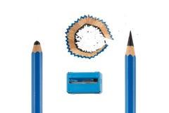 Satz des Bleistifts und des Bleistiftspitzers Stockbilder