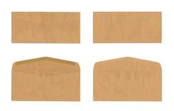 Satz des braunen Umschlags lokalisiert auf Weiß Lizenzfreie Stockfotos