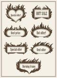 Satz des brennenden Feuerrahmens fasst heißen Verkauf ein und beste Angebotsymbole vector Illustration EPS10 Stockfotos