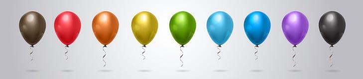 Satz des bunten Helium-Ballons auf Grey Background Horizontal Banner vektor abbildung