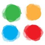 Satz des bunten Rundschreibens, runde abstrakte Fahnen Schablone für Design und Pastentext Grafisches Fahnendesign Stockfotos