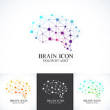 Satz des bunten Vektor-Schablonen-Gehirns Kreative Konzeptdesignikone Stockfotografie