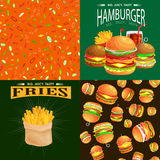 Satz des Burgers grillte Rindfleisch und das Frischgemüse, das mit amerikanischem Hamburgerfastfood des Soßenbrötchensnacks gekle Stockfoto