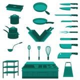 Satz des Chefs Kitchenware und des Kochs Equipment Vectors und der Ikonen Stockfotos
