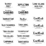 Satz des Cocktaillogos für Restaurants und Bargeschäftsvektorillustration Stockbilder