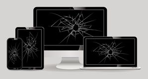 Satz des defekten Anzeigenlaptops, Tablette, Computer lcd, Smartphone vektor abbildung