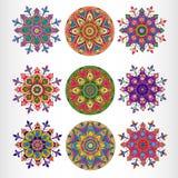 Satz des dekorativen runden Musters der Spitzes neun. Stockfoto