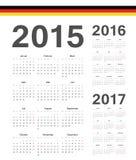 Satz des Deutschen 2015, 2016, 2017-jährige Vektorkalender Lizenzfreie Stockfotos