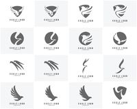 Satz des Eagle-Logodesignvektors, Eagle-Ikonenlogo Stockbilder