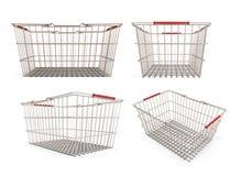 Satz des Einkaufssupermarktkorbes Stockfotos