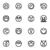 Satz des Emoticonvektors lokalisiert auf weißem Hintergrund Lizenzfreies Stockfoto