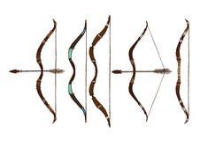 Satz des ethnischen Pfeiles und des Bogens lokalisiert auf weißem Hintergrund Stockbilder