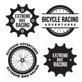 Satz des extremen Sports des Fahrrades bezog sich Logo, Embleme Lizenzfreie Stockfotos