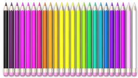 Satz des farbigen Bleistifts Bleistifte sind ausgerichtet und sortiert stock abbildung