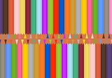 Satz des farbigen Bleistiftscharfen nebeneinander und der gegenüberliegenden Spitze und der Unterseite Die hölzernen Bleistifte s stock abbildung