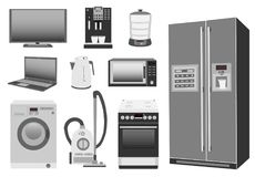 Satz des farbigen Haushaltsgerätküchenofens, Kühlschrank, Mikrowelle, Waschmaschine, Staubsauger, Wasserkocher Lizenzfreie Stockfotografie