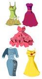 Satz des farbigen Kleides mit Blumendruck Lizenzfreie Stockbilder