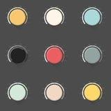 Satz des Farbmusikknopfes, Volumengriff mit realistischem entworfenem Schatten Stockfotos