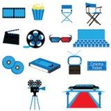 Satz des Film-Film-Kinos und der Unterhaltungs-Vektoren und der Ikonen Lizenzfreies Stockfoto