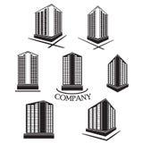 Satz des Firmengebäude Vektorlogos und -ikone Stockbilder