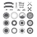 Satz des Firmenzeichenelements für Mechaniker, Garage, Autoreparatur, Service lizenzfreie abbildung