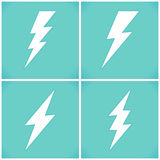Satz des flachen Blitzsymbolsatzes Stockfotografie
