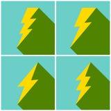 Satz des flachen Blitzsymbolsatzes Lizenzfreies Stockfoto